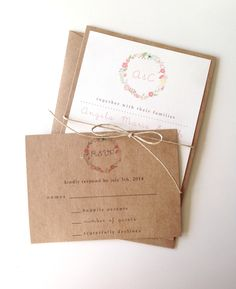 Rustic Floral Wreath Wedding Invitations by LemonInvitations on Etsy https://www.etsy.com/listing/121354637/rustic-floral-wreath-wedding-invitations