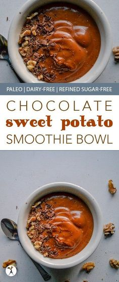 From another pinner: The perfect blend of summer and fall, this paleo Chocolate Sweet Potato Smoothie Bowl is brimming with flavor and healthy enough for a nutritious and delicious breakfast! Potato Recipes, Paleo Recipes, Real Food Recipes, Free Recipes, Paleo Smoothie Recipes, Juice Recipes, Healthy Smoothies, Paleo Breakfast, Breakfast Recipes