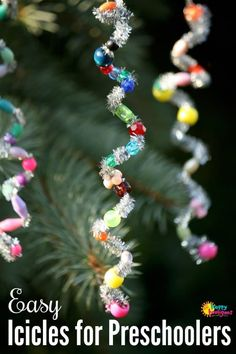 Easy Icicle Ornaments for toddlers and preschoolers to make. Great fine-motor C… Easy Icicle Ornaments for toddlers and preschoolers to make. Navidad Simple, Navidad Diy, Noel Christmas, Homemade Christmas, Christmas Cactus, Christmas Music, Christmas Movies, Christmas 2019, Christmas Gifts