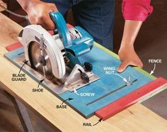 Woodworking Circular Saw How to Use a Circular Saw: Long Cuts - Step by Step: The Family Handyman - Learn how to safely saw boards freehand, cut plywood with a straightedge guide and build a ripping jig for accurate cutting with a circular saw