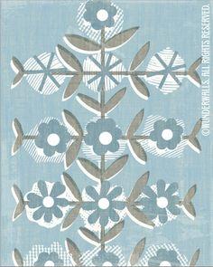 Flowers Folk Floral Blue Warm Gray Linen