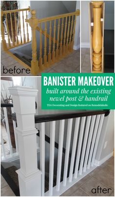 I'm so happy that I found these cheap DIY home improvements on a budget. Now I can finally make improvements and upgrades to my home for without breaking my budget. diy home improvement 20 DIY Home Improvements and Upgrades That Won't Break Your Budget Stair Banister, Banisters, Stair Case Railing Ideas, Stair Risers, Stair Newel Post, Staircase Banister Ideas, Black Stair Railing, Modern Staircase, Home Improvement Projects