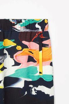 Printed crepe skirt