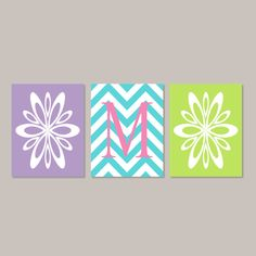 Teen Girl Room Decor Wall Art Flower Burst Initial Chevron Artwork Pink Turquoise Teal Lavender Bedroom Decor Set of 3 Prints Or Canvas by LovelyFaceDesigns on Etsy https://www.etsy.com/listing/495134062/teen-girl-room-decor-wall-art-flower