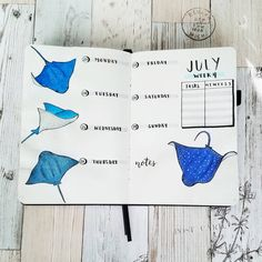 WEEK 4 of July// This will be my last spread for July, I really loved this months theme and refuse to believe that it's already gonna be… Bullet Journal September, Bullet Journal Weekly Layout, Bullet Journal 2019, Bullet Journal Inspo, Bullet Journal Spread, Bullet Journal Ideas Pages, Art Supply Box, Bullet Journel, Journal Inspiration