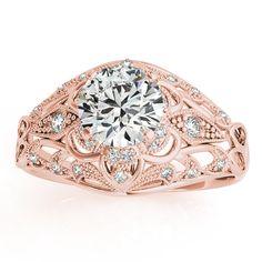 Vintage Art Deco Diamond Engagement Ring Setting 14k Pink Gold 0.20ct - Allurez.com