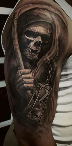 new ideas drawing tattoo skull skeletons – skull tattoo sleeve Evil Skull Tattoo, Skull Sleeve Tattoos, Grim Reaper Tattoo, Skeleton Tattoos, Skull Tattoo Design, Body Art Tattoos, Tattoo Drawings, Tattoo Designs, Tattoo Ideas
