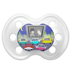 Small Town Drive-In Movie Pacifier--#retro #babies #pacifier #midcenturymodern #pregnancy #babygift #newborns #infants #toddlers #drive-in #Zazzle #1950's #classiccars