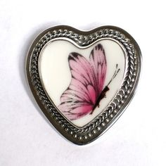 Broken China Jewelry Pink Butterfly Sterling Pin Brooch $128