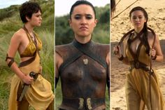 Sand Snakes Obara (Keisha Castle-Hughes), Nymeria (Jessica Henwick), and Tyene (Rosabell Laurenti Sellers). The Sand Snakes are the bastard daughters of Oberyn Martell. In the book, they have different mothers, however in the HBO series Ellaria Sand is their mother.