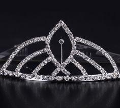 $3.97 Shiny Rhinestone Irregular Shape Girl Wedding Prom Tiara Crown Headband