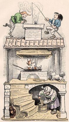 """1865 - Max und Moritz by Wilhelm Busch. """"Eine Bubengeschichte in sieben Streichen"""". Busch was an early pioneer next to Rodolphe Töpffer in the art of combining words and pictures to tell humorous stories in sequential panels."""