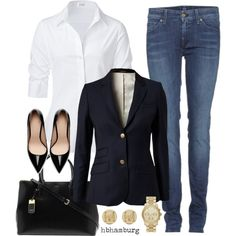 """""""No. 326 - Denim at the Office"""" by hbhamburg on Polyvore"""