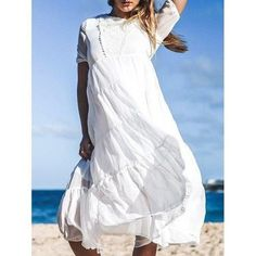 Bohemian Jewel Neck Short Sleeves Maxi Dress For Women
