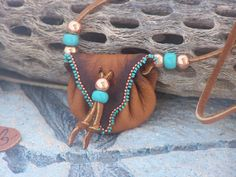 Copper, Turquoise Native American Buckskin Medicine Bag with Sage, Buffalo Hair and Crystal Beaded and Made by LJ Greywolf