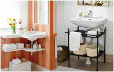 We begin and end every day in the bathroom, and that's why it should be nice and convenient. Any part of your home can be cozy — why should the bathroom be an e Bathroom Rack, Bathroom Storage, Tiny Bathrooms, Small Bathroom, Bathroom Ideas, Ideas Geniales, Home Decor Online, Contemporary Bathrooms, Home Ownership