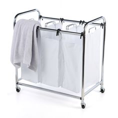 Large Laundry Sorter Custom Chrome Hamper Canvas Large #laundry Sorter Wash Clothes #hampers Design Ideas