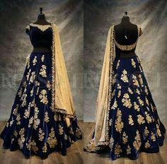 Blue silk thread embroidered dress