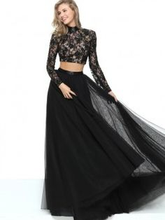 A-Line/Princess Jewel Long Sleeves Lace Floor-Length Tulle Dresses