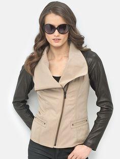 Andrew Marc leather sleeve jacket