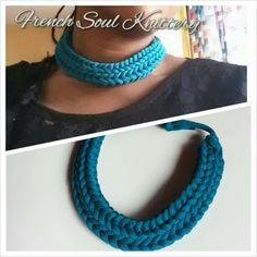 Knitted necklace www.frenchsoulknittery.com #knitting #yarn #handmade #frenchsoulknittery #knittednecklace #knittedjewelry #knitwear
