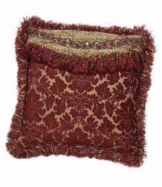 Red damask and cheetah square accent pillow with beads and brush fringe
