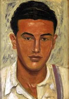 Head of a Youth, 1941 Yiannis Tsaroychis Guy Drawing, Drawing Practice, Life Drawing, Greece Painting, Queer Art, Art Database, Caravaggio, Portraits, Cool Paintings