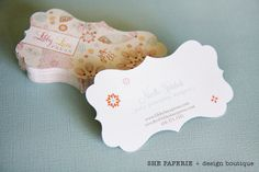 lovely business cards.  @Alexis Steenkolk  I love the cut out chapes maybe if we had a sewing machine or spool or bobbin for yours..