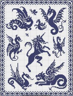 Free Cross Stitch Pattern - Dragon Sampler