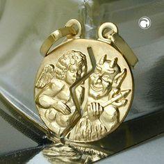 Anhänger Engel/Teufel, 9Kt GOLD  teilbar mit 2 Ösen, matt-glänzend