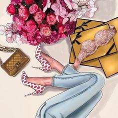 "245 Likes, 11 Comments - Анастасия Косьянова (@nastya_kosyanova) on Instagram: ""Fashion illustration for @secret_desserts  Фэшн иллюстрация для бутика нижнего белья…"""