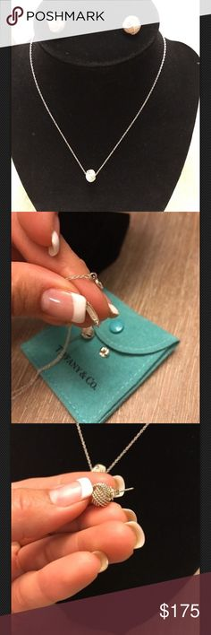 Tiffany & Co Necklace With Matching Earrings 💯 Authentic Tiffany & Co necklace and matching earrings. 925 Sterling Silver Earrings still have original backings as seen in pictures. Come in original pouch No Box No Receipt were a gift. Both in excellent condition. Well taken care of.  Open to reasonable offers No Trades🚫 Tiffany & Co. Jewelry Necklaces