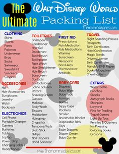 Disney Packing List, Disney World Packing List, Ultimate Disney Packing ListYou can find Packing lists and more on our website.Disney Packing List, Disney World Packing List, Ultimate Disney Packing List Packing List For Disney, Disney World Packing, Disney World Vacation Planning, Road Trip Packing, Packing For A Cruise, Vacation Packing, Disney Planning, Disney Vacations, Travel Packing
