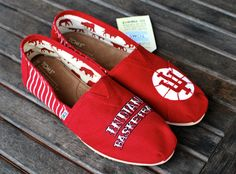 Indiana University TOMS by BStreetShoes on Etsy ...oh my gosh... I WANT THESE. Tom Creans. Hehehhe.
