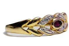 Ruby 10k Gold Ring Diamond