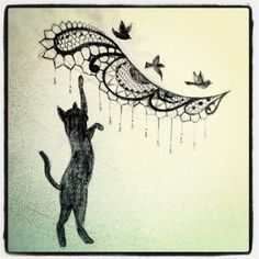 Getting the lace dot work and cat added to my three birds in two weeks :) so excited