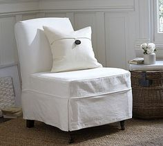 Maxton Slipcovered Slipper Chair   Denim Warm White #potterybarn For Green  Living Room Chair Moved