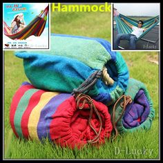 Free shipping Top Grade Quality Canvas Double Spreader Bar Hammock Outdoor Camping Swing Hanging Bed Blue 2 colors Hammocks