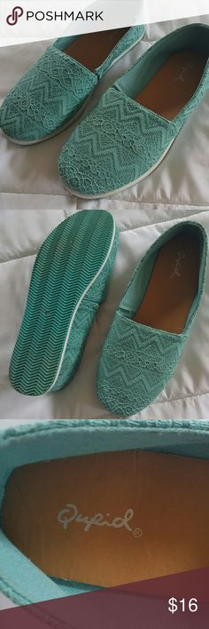 Qupid Turquoise shoes & old navtly flip flops Turquoise shoes with aztec design. Very comfortable. NWOT Qupid Shoes Flats & Loafers