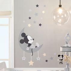 Disney Baby Mickey Mouse Gray/Yellow Celestial Wall Decals - New Site Baby Mickey Mouse, Mickey Mouse Wall Decals, Mickey Mouse Nursery, Disney Wall Decals, Disney Mickey, Disney Mural, Disney Baby Rooms, Disney Baby Nurseries, Disney Nursery