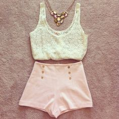 high waisted shorts and lace top