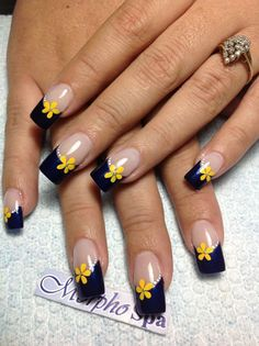 Cute Nail Designs For Spring – Your Beautiful Nails Nail Polish Designs, Cute Nail Designs, French Nails, Cute Nails, Pretty Nails, Hair And Nails, My Nails, Fabulous Nails, Flower Nails