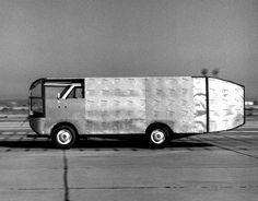 Air flow testing on aerodynamic truck - 1981