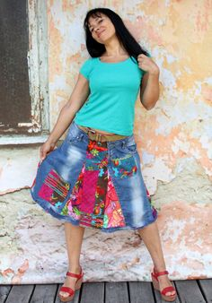 c4ce53a6073 M-L Crazy colors recycled denim knees skirt hips by jamfashion