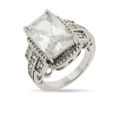 Glamorous 5 Carat Emerald Cut CZ Right Hand Ring