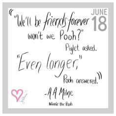 """Winnie the Pooh Quote """"Friends Forever"""" 