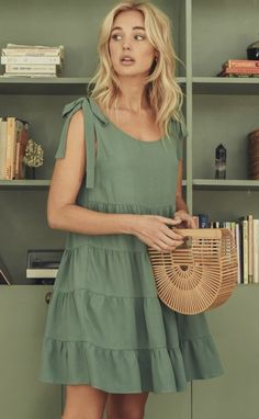 Bella Dress in Sage Modest Outfits, Cool Outfits, Casual Outfits, Babydoll Dress, Get Dressed, Spring Summer Fashion, Style Me, Cool Hairstyles, Feminine
