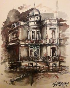 The house of Golphinopoulos in Patras Greece, Watercolor by Pavlos Stollas Patras, Greece, Watercolor, House, Painting, Art, Greece Country, Pen And Wash, Art Background
