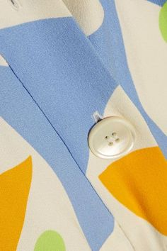 Miu Miu - Belted Printed Crepe Midi Dress - Yellow - IT42
