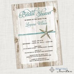 Bridal Shower Invitation Starfish Beach by InvitingInvites on Etsy, $15.00